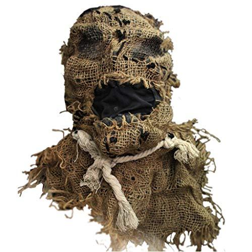 Gruselig Jackolantern Erwachsene Kostüm - TIREOW Erwachsene Vogelscheuche Maske, Gruselig Gummi