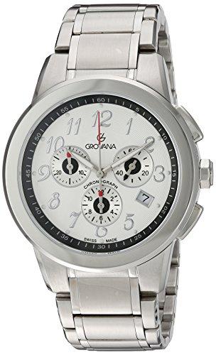Grovana 2094,9132 - Reloj cronógrafo de cuarzo para hombre, correa de acero inoxidable chapado color plateado (cronómetro, agujas luminiscentes)