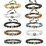 YADOCA 10 Stück 8MM Stein Armband für Männer Frauen Löwenkopf Leopardenkopf Drachenkopf Armband Tigerauge Stein Naturstein Lava Rock Elastic Armband