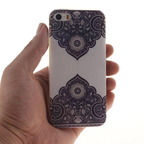Xf-fly® iPhone SE / 5 / 5S Hülle mit TPU Silikon Material und Retro Farblich Muster Schutzhülle Handytasche für Apple iPhone SE / 5 / 5S(4.0 Zoll) P-6