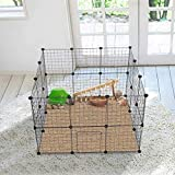Cocoarm Pets Playpen, Metal Enclosure DIY Net Exercise Yard Fence Cage with Door for Small Pets Rabbits Hedgehogs Indoor and Outdoor Use Black, Panel Size: 14 ×14 inch (24 Panels)