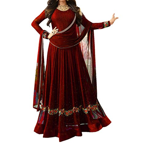 Ethnic Yard Women's Faux Georgette Dress Material (EY_F1161_Free Size_Maroon)