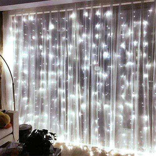 LEDEPLY 3 x 3M LED Lichterkette, 300 Stücke decoration lights, IP44 Wasserdicht, Außen, Lichterkettenvorhang, Party, Hochzeit, Garten, Weihnachten (Kaltes Licht)
