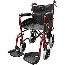 Rojo 601X aluminio silla de ruedas de tránsito ligera con Attendant Handbrakes