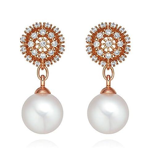 Beau et Fancy Tournesol Style Énergie Positive Cristaux Tons Or et perle simulée Boucles d