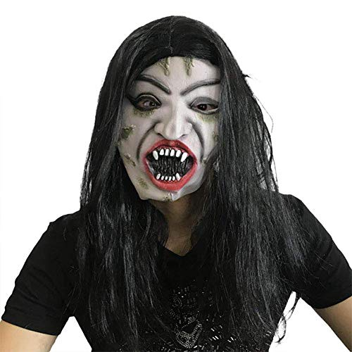 SLM-max Halloween Maske, White Hair Hexe Gesichtsmaske, Show Party Horror Face Fake Face Hood - Umweltfreundliches Latex Material,A