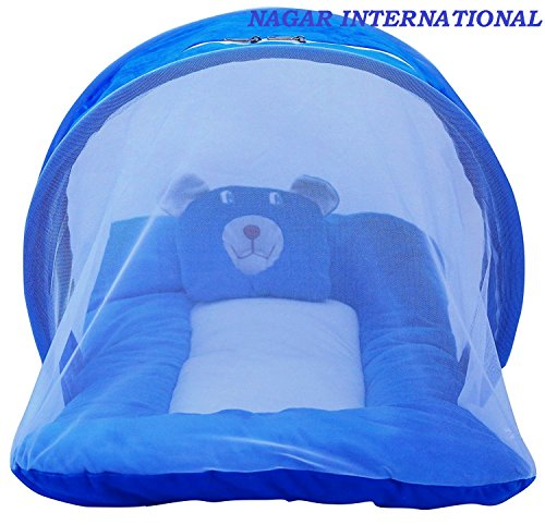 Nagar International Toddler Baby Mattress With Mosquito Net Blue Nt-20 New Born To 6 Months Baby 70*40 Cms