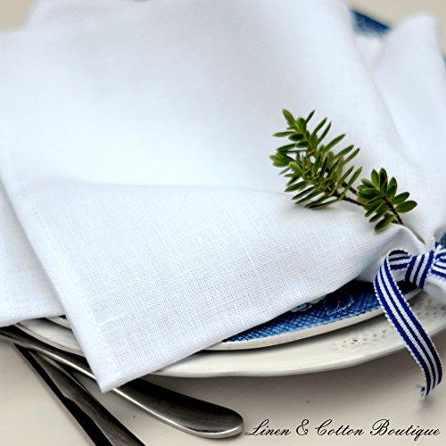 Linen & Cotton Lot de 4 Serviettes de Table de Luxe ANABELLA, 100% Lin - 47 x 47cm (Blanc)