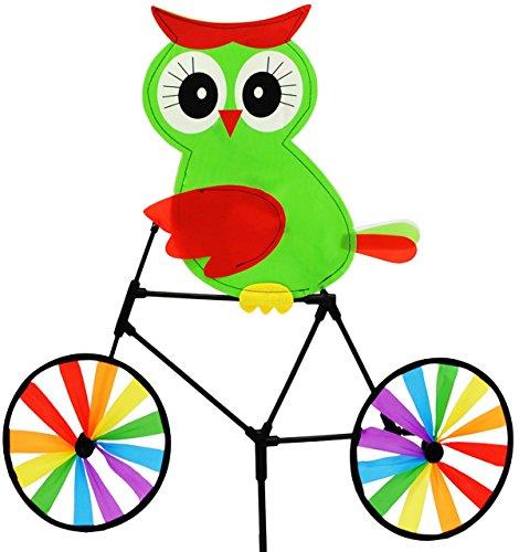"""Preisvergleich Produktbild Windrad / Windspiel - """" Eule mit Fahrrad - grün """" - für Garten & Balkon - Windmühle & Windrichtungsanzeiger - Windräder - Wetterfest für Außen - Windspiele mit Spieß 85 cm - Vögel bunter / Fahrräder - lustige Eulen - Wetterhahn"""