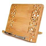 leggio in bambù, leggio da tavolo, Reggilibri con supporto regolabile e motivo elegante per ricettario, ricetta, iPad Air 2 3 4, Kindle, Samsung Tablet PC e altro ancora (Piccolo)