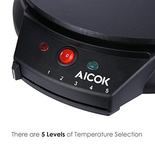 Aicok Crêpes Maker Eletronische Pfannkuchen Maschine Antihaftbeschichtete Crepes Platte mit Crepes Verteiler, Crepesmaker, 30cm, 1000W, Schwarz -