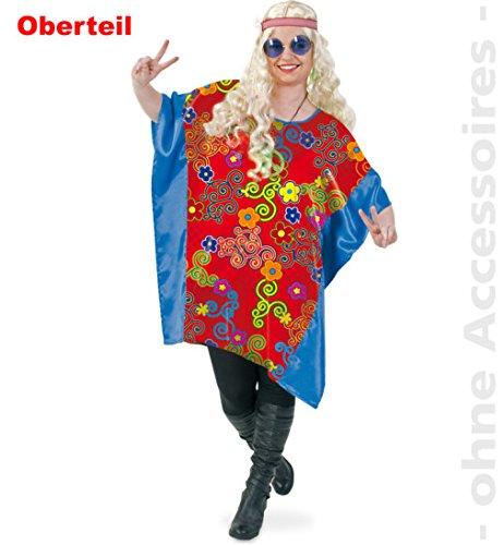 Hippie Sue 1tlg Damen Oberteil Damenkostüm Fasching Bigshirt Big - Shirt für starke Frauen große Groessen (Kostüme Gruppe Halloween Große)