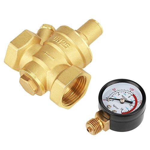 Druckregler, DN25 Messing Einstellbarer Wasserdruckminderer Druckminderer + Manometer