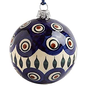 Polish Pottery Peacock Feathers Handmade Blue Ivory Ceramic Christmas Ornament, 3-Inch Diameter