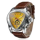 Herren-Armbanduhr, automatisch, mechanisch, dreieckiges Zifferblatt, Lederband, Gelb