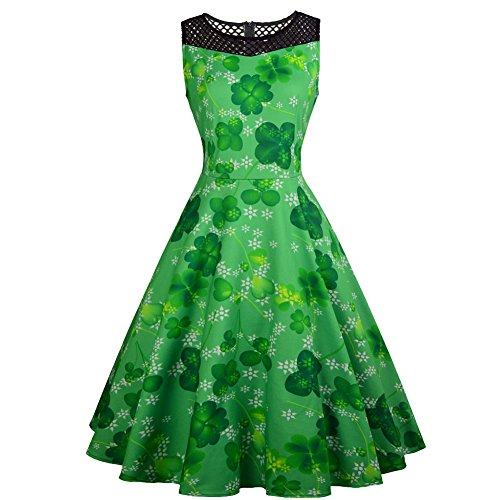 Kostüm Kleeblatt - Grünes Damen Glückliches Kleeblatt Kleid Sleeveless Spitze Patchwork Kleid St. Patrick Tageskostüm Swing Kleider