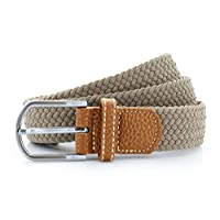 Asquith & Fox Braid Stretch Rubber and Faux Leather Belt AQ900 Khaki