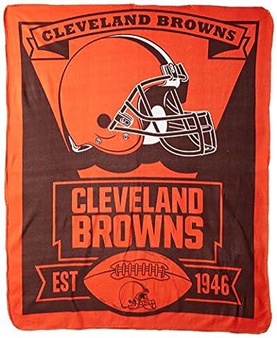 NFL Cleveland Browns Marque Nouveau Logo imprimé Couvre-lit polaire, 127x 152,4cm, Marron