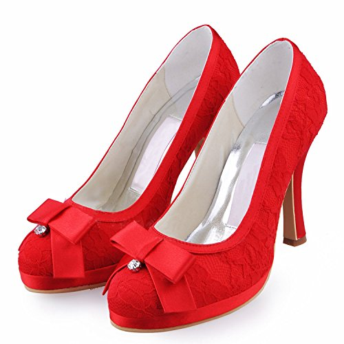 Kevin Moda, Casamento Sapatos Da Moda Das Mulheres Vermelho