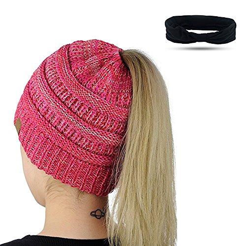 Damen Mädchen Gestrickt verdicken Hut Mit Zöpfen Loch Loop Strickschal Strickmütze Wintermütze (Rot + weiß)