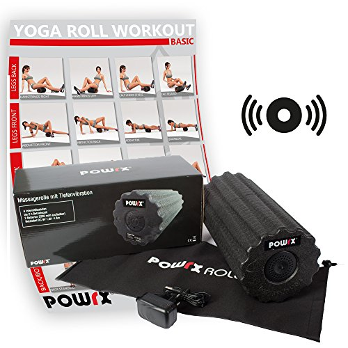 POWRX-ROLL inkl. Workout | Faszienrolle mit Tiefenvibration | Massagerolle| Vibrationsrolle mit 4 Vibrationsstufen inkl. Tragetasche