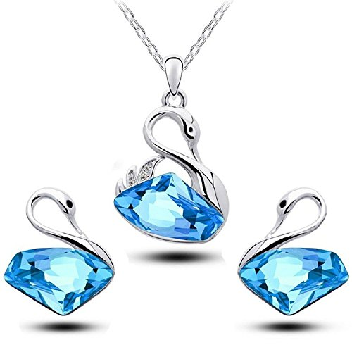 Shining Diva Fashion Stylish 18K Gold Plated Crystal Pendant Necklace Set With Earrings For Girls