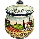 CERAMICHE D'ARTE PARRINI- Italienische Kunstkeramik, jar Knoblauch Dekoration Landschaft Sonnenblume, handgemalt, hergestellt in Italien Toscana