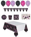 Mayfield Living Geburtstagsdeko Set runder Geburtstag Jubiläum 50 - Pink Schwarz Frau