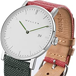 Meller Unisex Dag Biplanet Minimalist Watch with White Analogue Display and Leather Strap