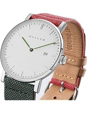 Meller Unisex Dag biplanet minimalistische Uhr mit Weiß Analog-Anzeige und Lederband