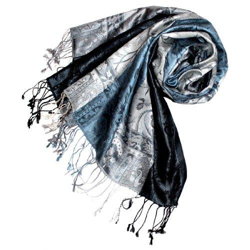 LORENZO CANA Luxus Pashmina Schal Schaltuch jacquard gewebt 100% Seide 70 x 190 cm Paisley Muster Seidenschal Seidentuch Seidenpashmina harmonische Farben (Seide Italienischer Schal)