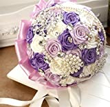 GJX Rose pearls Chains Bridal Wedding Bouquet Silk Rose Hand Tie , 22cm