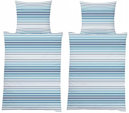 MB Warenhandel24 4-Teilige hochwertige Renforcé-Bettwäsche 2X 135x200 Bettbezug + 2X 80x80 Kissenbezug, 100% Baumwolle (Streifen BLAU/GRAU) -