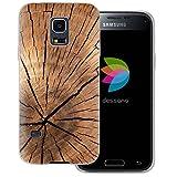 dessana Holz Maserung Transparente Silikon TPU Schutzhülle 0,7mm Dünne Handy Tasche Soft Case für Samsung Galaxy S5 Mini Pinien Holz