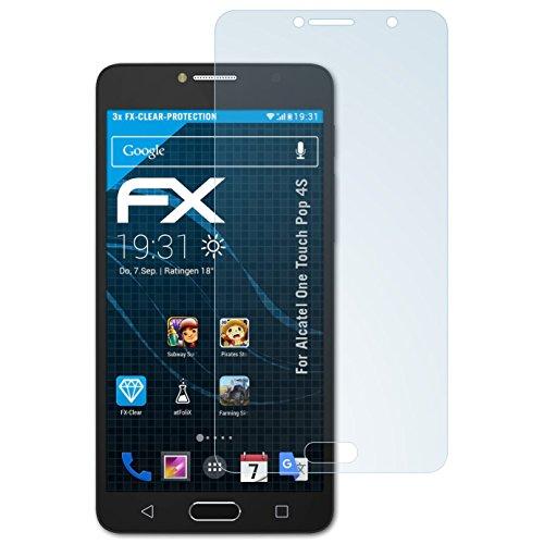 atFolix Schutzfolie kompatibel mit Alcatel One Touch Pop 4S Folie, ultraklare FX Bildschirmschutzfolie (3X)