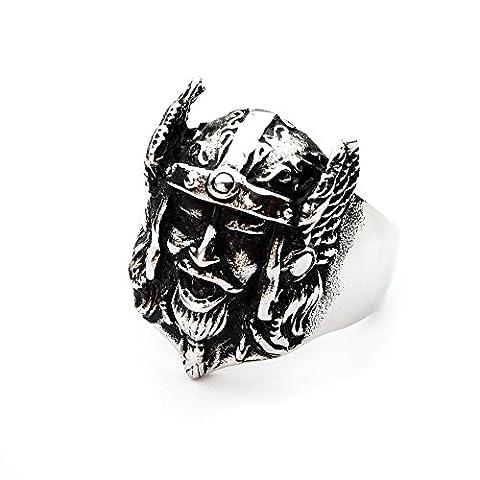 Miss–E–Bijoux argent en acier inoxydable Guerrier Viking Bague pour homme gothique motard Punk Gothique nordique Taille: Z + 1, 13, 30, 70