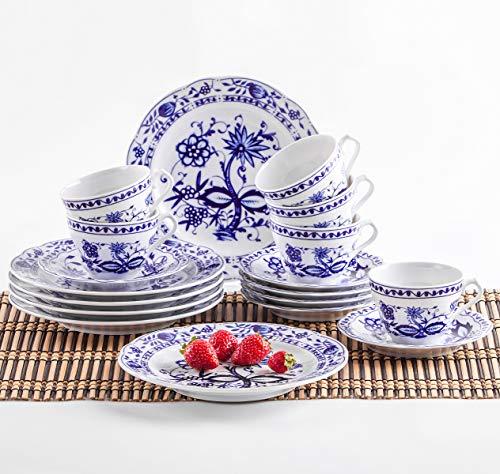 Kahla 170290M72067U Zwiebelmuster Kaffeeservice Tee Geschirr Porzellan 18 teilig 6 Person weiß blau...