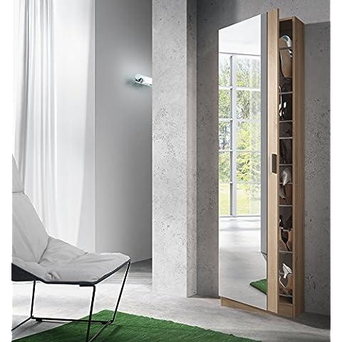 Habitdesign (007866F) Zapatero con espejo color roble natural, medida 180x50x20