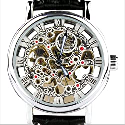 Orkina Mens Silver Case Hollow Mechanical Dial Quartz Leather Strap Wrist Watch KC-112SB