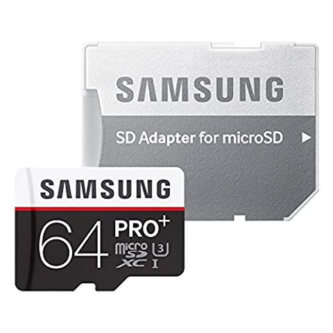Samsung Speicherkarte MicroSDXC 64GB PRO Plus UHS-I Grade U3 Class 10, für Smartphones, Tablets und Action Cams, mit SD Adapter [Amazon Frustfreie