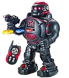 ThinkGizmos Remote Control Robot - RoboShooter Black & Red - Fires Discs, Dances, Talks - Super Fun RC Robot (Black)