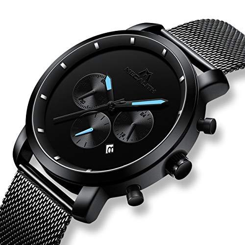Herren Schwarz Uhren Männer Militär Wasserdicht Sport Groß Chronograph Mesh Edelstahl Armbanduhr Mann Luxus Mode Datum Kalender Analoge Quarz Uhr