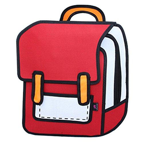 dewang-3d-2d-cartoon-comic-school-bag-travel-book-bag-laptop-backpack-canvas-backpack-red