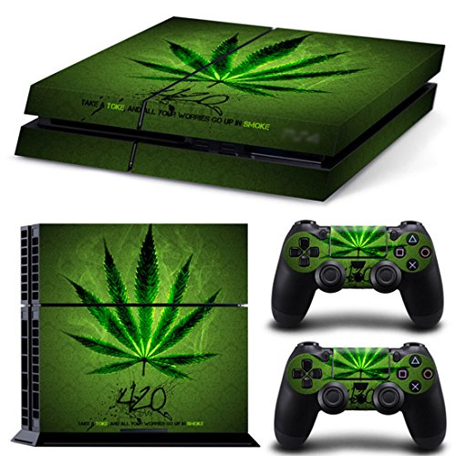 Dotbuy PS4Vinyl Aufkleber Haut, Sticker für Playstation 4Konsole + 2Dualshock Joystick Set grün Green Leaf (2 Leaf Dead For)