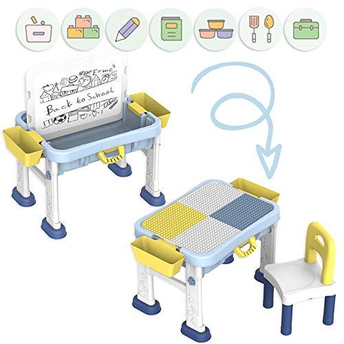 DeAO Escritorio Didáctico Infantil Portátil Centro de Actividades 3en1 Mesita Multiusos para el Aprendizaje...