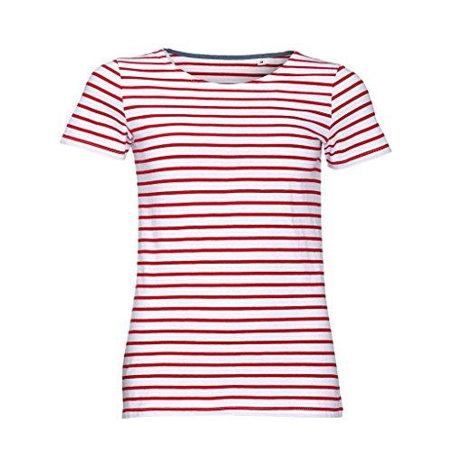 SOLS Damen Miles T-Shirt, gestreift, kurzärmlig (2XL) (Weiß/Rot)