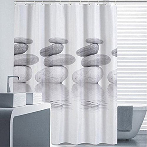Goldbeing Duschvorhang 240x200 Textil Grau Pebble Schimmelresistenter und Wasserabweisend Shower Curtain mit 16 Duschvorhangringen (240 Natürlichen)