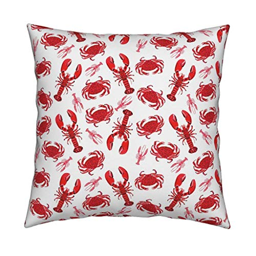 Red Crab und Hummer Werfen Pillow Crab und Hummer von Andrea. u Lauren Nautical Sea Life 18x18 Square Werfen Pillow -