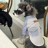 ShenyKase Primavera Verano Camisa para Perros Moda de Rayas de Manga Corta Fresca cómoda Camisa de algodón Ropa para Perros Universal para la mayoría de los Perros
