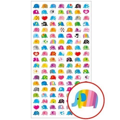 Lindas Mini Pegatinas de Elefantes de Colores con Rayas, Corazones, Flores, etc.